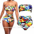 Rare Plus Size High Waist Bikini Set Push up Padded Beach Swimwear Bathing Suit