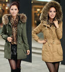 Women Thicken Fleece Warm Faux Fur Winter Coat Zip Hood Parka Overcoat