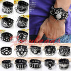 Mens Punk Rock Dragon Bullet Spider Skeleton Cross Genuine Leather Cuff Bracelet