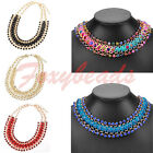 Elegant Colorful Weave Braid Crystal Rhinestone Metal Chain Necklace Adjustable