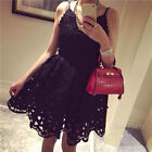 Hollow-out Lace V-neck Floral Lace Sleeveless Sweet Summer Party Mini Dress
