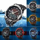 Men's Solar Power Dual Time Digital Analog Waterproof Rubber Sport Wrist Watch image