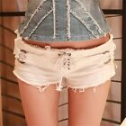 Frayed Women's Hot Pants Low Rise Ripped Denim Shorts Zipper Lace Up Distressed