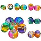 5pcs Lampwork Glass Smooth Mixed Colour Round Beads For Charm Bracelet Jewellery
