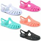 New Ladies Womens Girls Flat Summer Beach Retro Jelly Sandals Flip Flops Shoes
