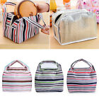 New Thermal Insulated Portable Canvas Stripe Lunch Picnic Totes Carry Bag Case