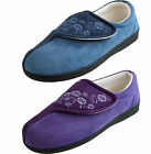 Jyoti Womens Luxury Wide fit Velcro Memory Foam  Navy Lilac Slippers