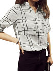 Ladies Plaids Two Front Pockets Roll Up Long Sleeve Casual Shirt