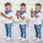 3PC Causal Kid Baby Boy Gentleman Clothes T-Shirt + Jeans Pants Scarf Outfit Set