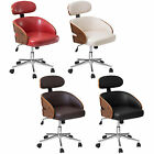 Leather And Bentwood Luxury Swivel Executive Computer Desk Office Chair Seat