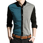 Man Novelty Prints Contrast Color Velvet Panel Button Down Shirt