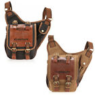 Men Vintage Canvas Leather Satchel School Military Shoulder Messenger Bag