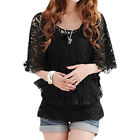 Woman Spaghetti Straps Cami w Organza Panel Batwing Sleeves Lace Top