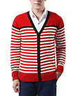 Men Stylish Stripes Pattern Contrast Color Casual Cardigan Coat