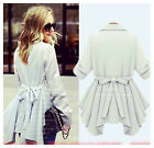2015 Women Lapel Windbreaker Long Autumn Parka Coat Outwear tops shirt plus size