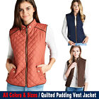 Women's Quilted Padding Vest Jacket Lightweight Quilted Top Outwear