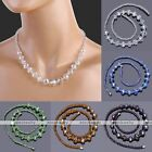 "Luxury Crystal Glass Faceted Rondelle Beads Bid Statement Women Necklace 18.5""L"