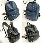 2015 Womens Leather Punk Rucksack Backpack Rivet Travel Shoulder School Bookbag