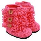 New Baby Kids Winter Warm Knitted Hand-woven Tassel High Boots Button Shoes - CB