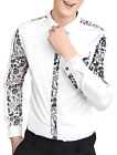 Men Long Sleeved Single Breasted Flower Prints Casual Shirt