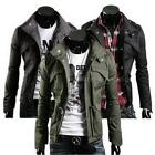 Men's Military Style Fit Slim Stand Collar Coat Jacket Zip Button Overcoat DJNG