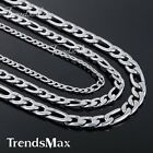 5/7/9mm MENS Chain Boy Silver Tone Figaro Link Stainless Steel Necklace Fashion
