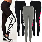 NEW Womens Ladies Jersey Slogan Text Work Out Gym Stretch LEGGINGS SIZE8 10 12 1
