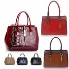 Ladies Women's Fashion Designer Twist Lock Frame Tote Bag Qualtiy Patent Handbag
