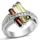 Ladies Three Multi Color Long Stones Silver White Gold EP Ring