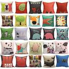 Cotton Linen Animal Dog Cat Pillow Case Throw Cushion Cover Home Sofa Car Decor