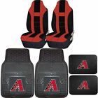 MLB Arizona DiamondBacks Rubber Front Rear Floor Mat Seat Cover Universal Set