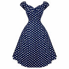 Collectif Dolores Doll Blue Dot Vintage Retro 1950s Prom Swing Dress