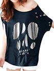 Summer Boat Neck Destroyed Loose T Shirt Top for Lady
