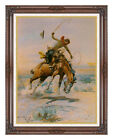 Framed Western The Bucker Horse Charles M Russell Repro Fine Art Print on Canvas