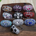 Fashion Womens Adjustable Rhinestone Crystal Bead Evil Eye Finger Ring 5 Colors