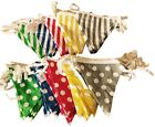 Polka Dot/Stripe Textile Bunting Flag Cloth Fabric Retro Double Sided Banner 5M