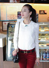 New Lady's Fashion Tops Long Sleeve Button Down Shirt Round Neck Checks Blouse