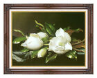 Framed Magnolias by Martin Johnson Heade Painting Reproduction Canvas Giclee Art