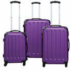 GLOBALWAY 3 Pcs Luggage Travel Set Bag ABS+PC Trolley Suitcase Purple
