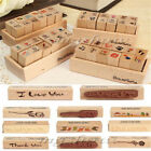 12 X DIY Love Heart Seal Diary Pattern Rubber Wooden Stamp Set Wooden Box Retro