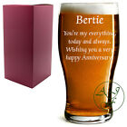 Personalised 1 Pint Tulip Beer Lager Glass Sleever Engraved Anniversay gift