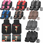 Synthetic Leather Seat Covers Set Betty Boop Chainlink Rubber Mat Universal $109.95 USD