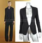 $2,295 GUCCI JACKET BLACK SILK CADY TIE FRONT BLAZER NOTCH LAPEL IT 40 US 4