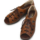 Pretty Ore Lace Up Wedge-Heel Brown Womens Shoes