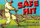 Vintage 1940s SAFE HIT Texas Vegetable Crate Label BASEBALL PLAYER Litho NOS