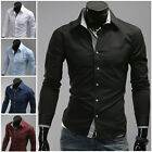Mens New Stylish Luxury Casual Dress Shirts Solid Color Long Sleeve Slim Fitted