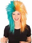 Sports Fanatix Wig Orange Teal Miami Dolphins Adult Womens Mens Hair Accessory