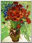 Red Poppies and Daisies Vincent van Gogh Still Life Stretched Art Print Repro