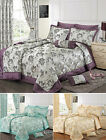 Jacquard Bedding Set Luxury Premium Floral Duvet Set, Quilted Comforter Curtains