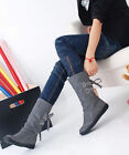 Fashionable Top Womens Synthetic Leather Flat Heel Mid Calf Boots Shoes UK Size